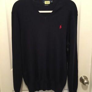 NWOT! Polo Ralph Lauren Navy VNeck Sweater M